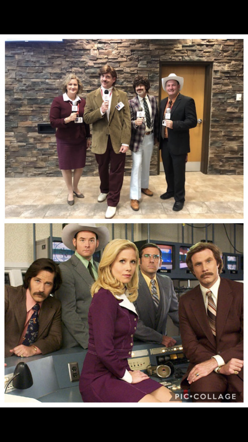 Pictured are administrators Mrs. Sczcesniak, Mr. Wolf, Mr. Fisher, and Mr. Lynch dressed as the crew from the movie The Anchorman.
